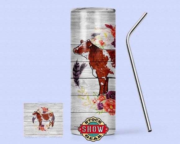 20oz. Skinny Tumbler with Sealing Lid and Metal Straw Floral Feather Livestock