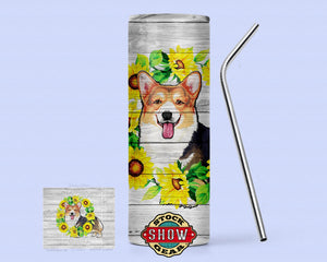 20oz. Skinny Sunflower Corgi Tumbler with Sealing Lid and Metal Straw