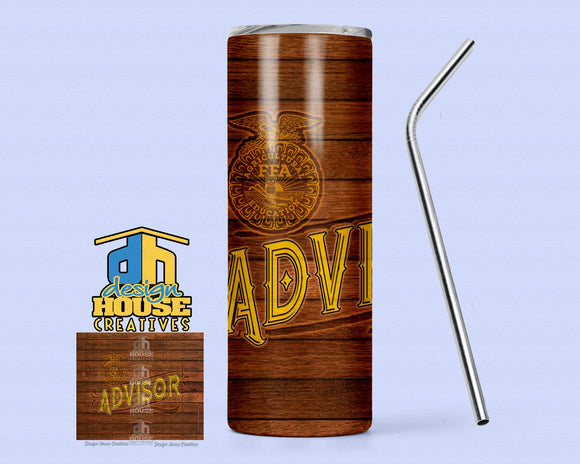 20oz. Skinny FFA™ Wood Advisor Tumbler with Sealing Lid and Metal Straw