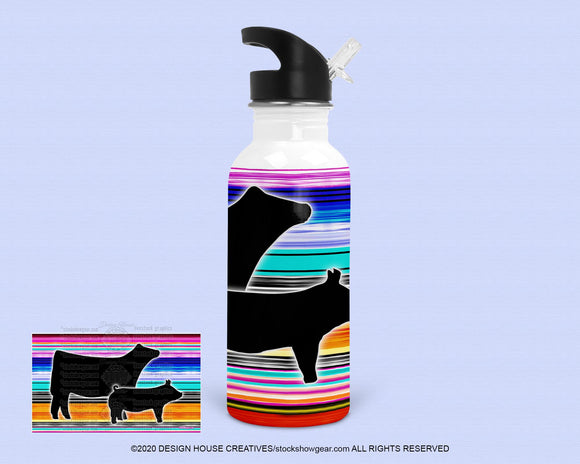 20oz. Stainless Steel Water Bottle - Colorful Cow and Pig
