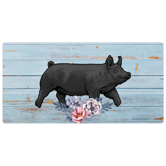 Soft Blue Floral Livestock License Plate-Pigs