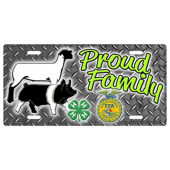 Proud 4H FFA Show Show Steer Heifer Pig Lamb Goat Car Tag Auto License Plate