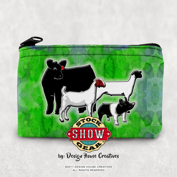 Coin Purse Cosmetic Bag Show Livestock Pig Steer Heifer Lamb Pig FFA 4-H