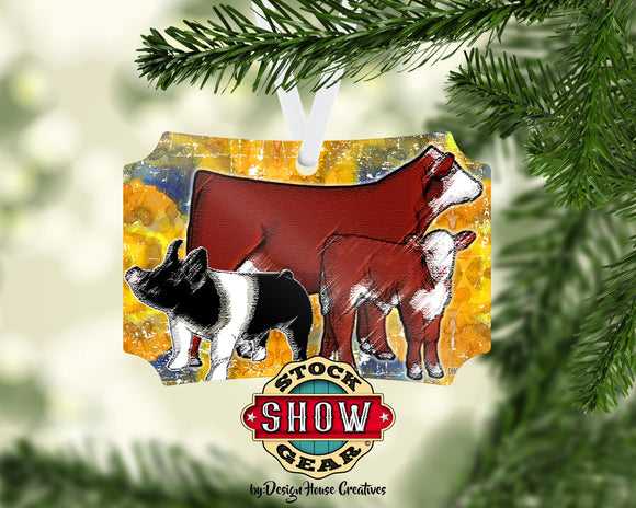 Hereford Cow Calf - Hampshire Pig Christmas Ornament