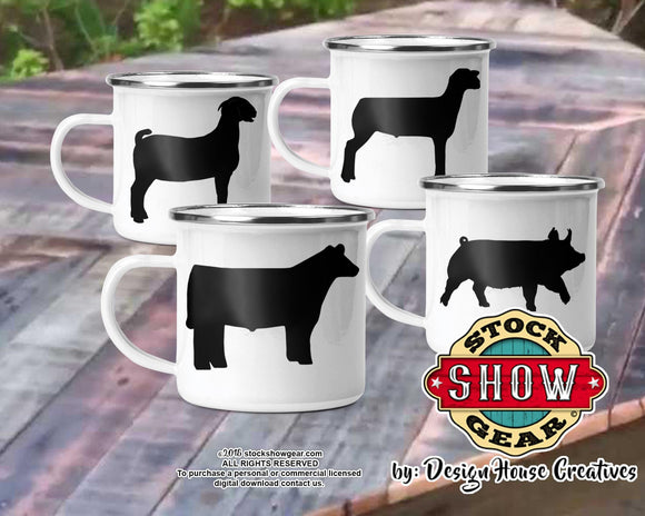12 oz. Enamel Camp Cup Livestock Design