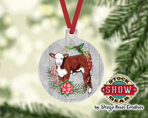 Hereford Calf Christmas Tree Ornament