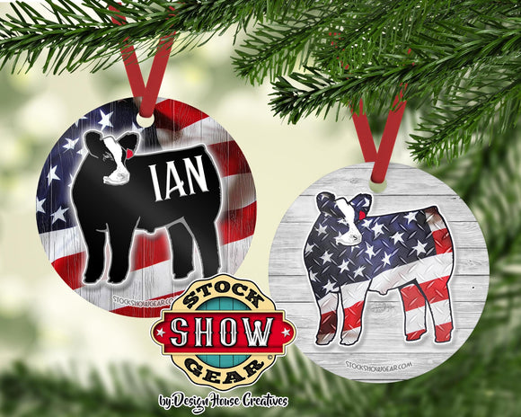 Cattle Christmas Tree Ornament - American Flag Baldy