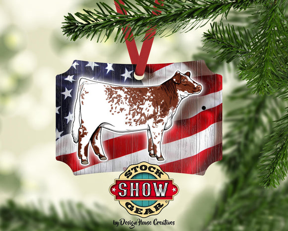 Livestock Christmas Ornament Shorthorn Year Name Show Dad Personalized 4-H FFA County Fair Award Gift Idea