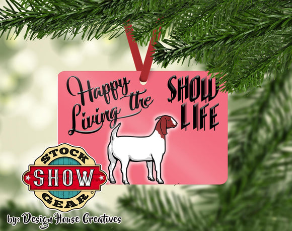 Happy Living the Show Life Boer Goat Doe Wether Ornament