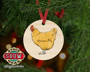 Livestock Graphic Round Wood Ornaments Farmhouse Tree