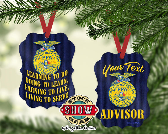 National FFA™ Organization Any Text Convention Award Chapter Advisor Member Christmas Ornament