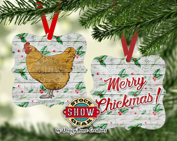 Chicken Christmas Ornament Buff Orpington Black Blue