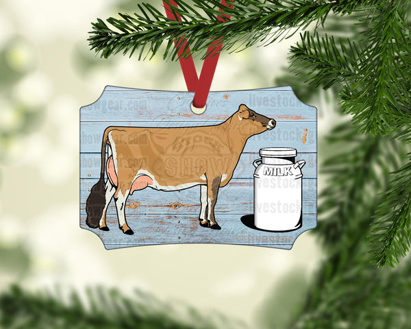 Dairy Cow Milk Can Ornament