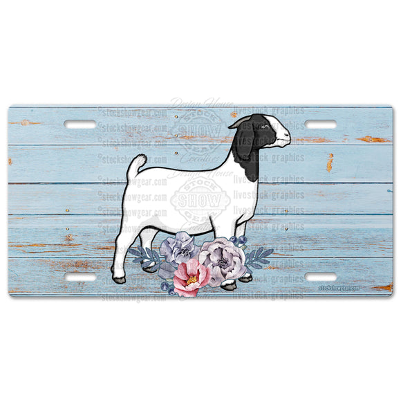 Boer Goat Livestock License Plate-Floral Design-Black White-Tan White