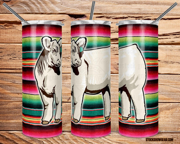 Charolais Heifer Tumbler with Sealing Lid and Metal Straw-Serape -The Cattle Barn-20oz.