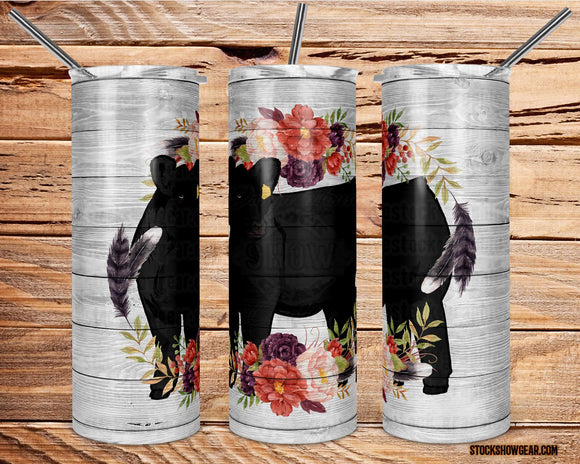 Black Angus Tumbler with Sealing Lid and Metal Straw-Floral Wreath-The Cattle Barn-20oz.