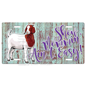 Boer Goat License Plate-Show Mommin'-Wood-The Goat Barn-