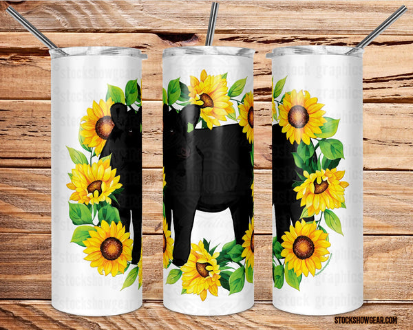 Black Angus Tumbler with Sealing Lid and Metal Straw-Sunflowers Wreath-The Cattle Barn-20oz.