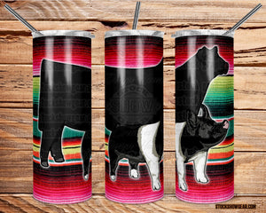 Black Angus-Hampshire Pig Tumbler with Sealing Lid and Metal Straw-Serape-The Community Barn-20oz.