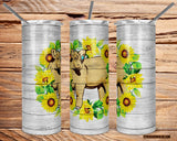 Buff Charolais Heifer Tumbler with Sealing Lid and Metal Straw-Sunflowers -The Cattle Barn-20oz.
