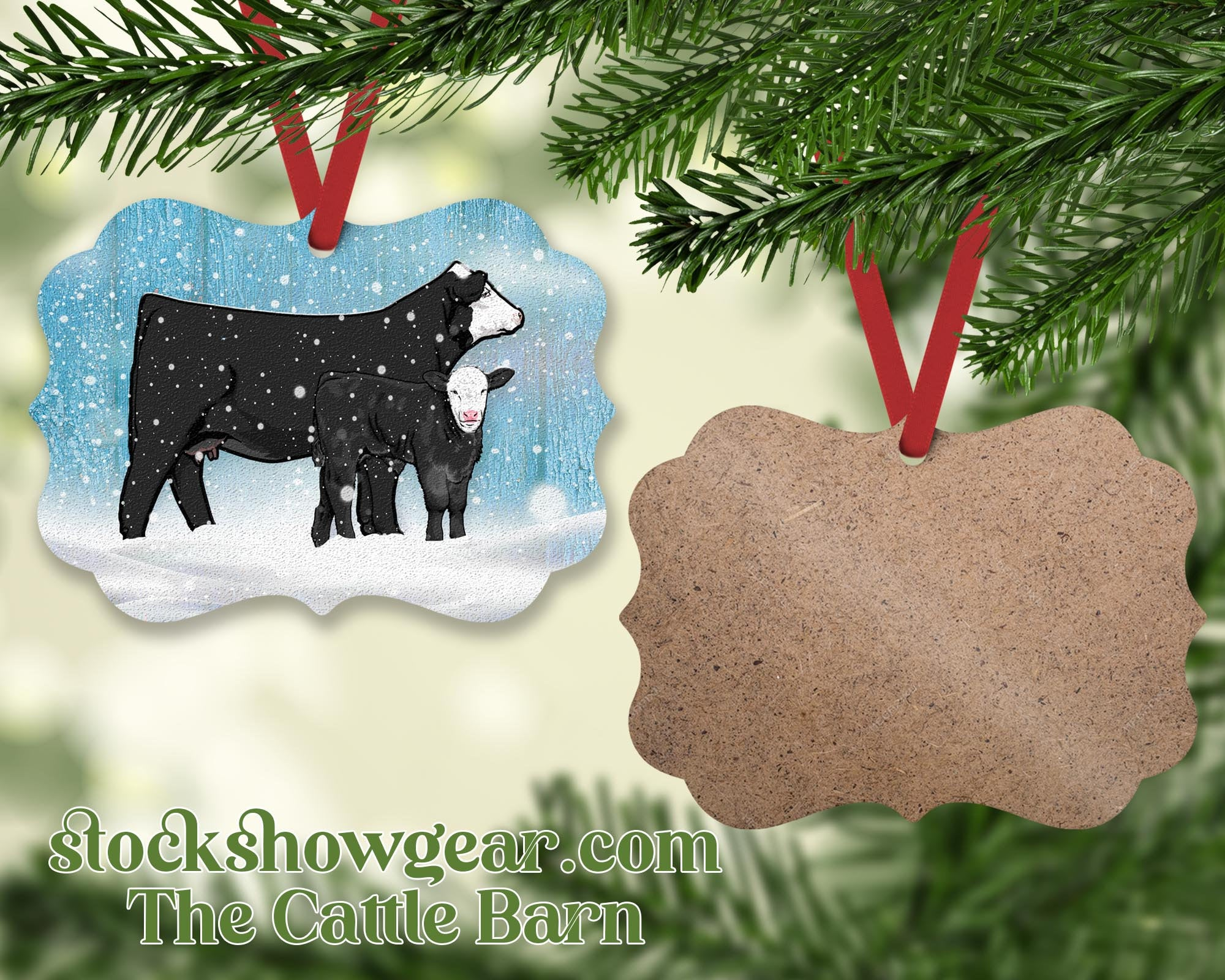 Black Baldy Cow Calf Wood Christmas Ornament – Snow Scene-The Cattle Barn