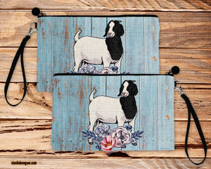 Black and White Boer Goat-Poly-Linen Large Cosmetic Bag