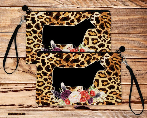Show Heifer Cheetah Design-Poly-Linen Cosmetic Size Bag