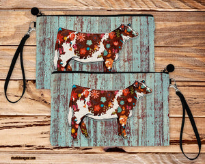 Floral Shorthorn Design Poly-Linen Cosmetic Size Bag