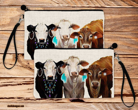 Three Dressy Heifers Design Poly-Linen Cosmetic Size Bag