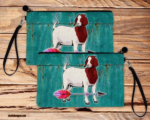 Red and White Boer Goat Arrow Design-Poly-Linen Large Cosmetic Bag