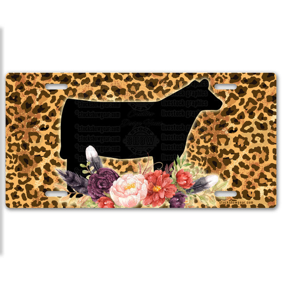 Cheetah Print Heifer License Plate