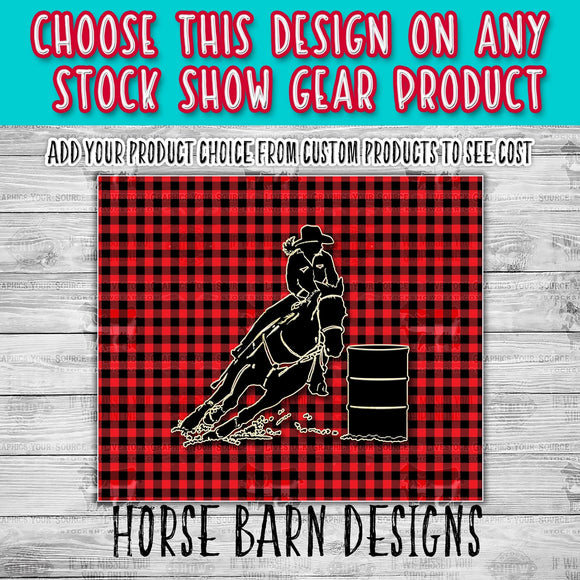 Female Barrel Racer Buffalo Plaid Design