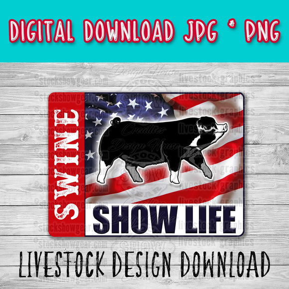 Poland China Pig Barrow USA Swine Show Life Digital Download