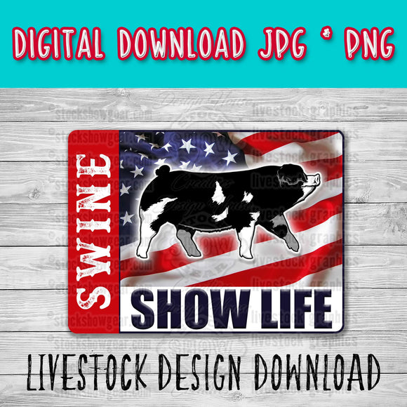 Black Spot Pig Gilt USA Swine Show Life Digital Download