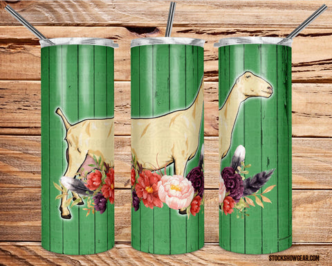 Lamancha Dairy Goat Green Wood with Floral Swag Tumbler