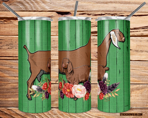Nubian Goat Pair Tumbler-Green Wood