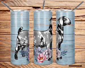 Black Dapple Boer Doe with Flowers Skinny Tumbler with Straw