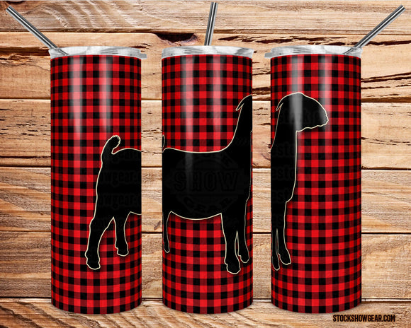 Boer Doe Silhouette on Buffalo Plaid Skinny Tumbler