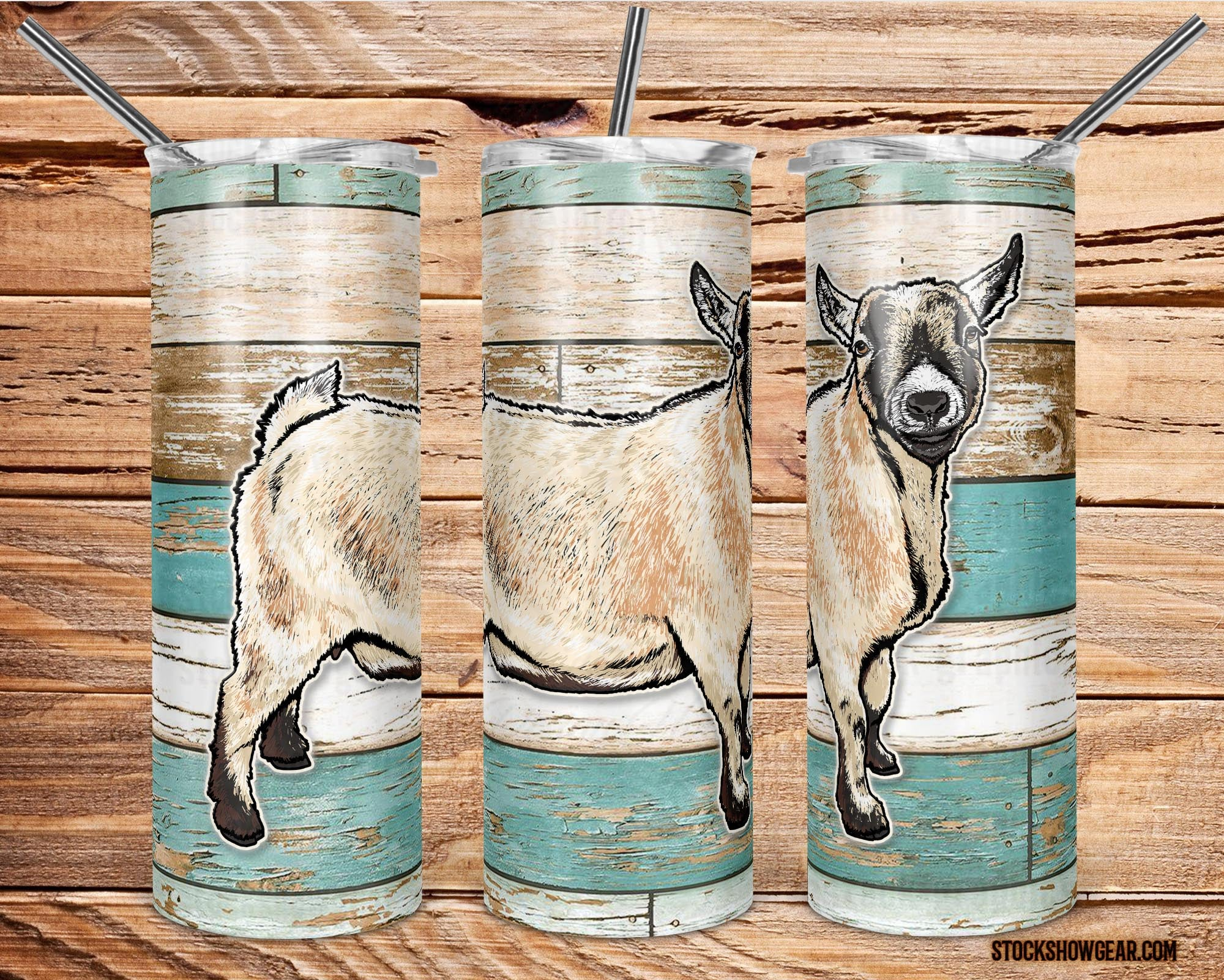 Carmel Pygmy Goat on Beach Wood Skinny Tumbler with Straw