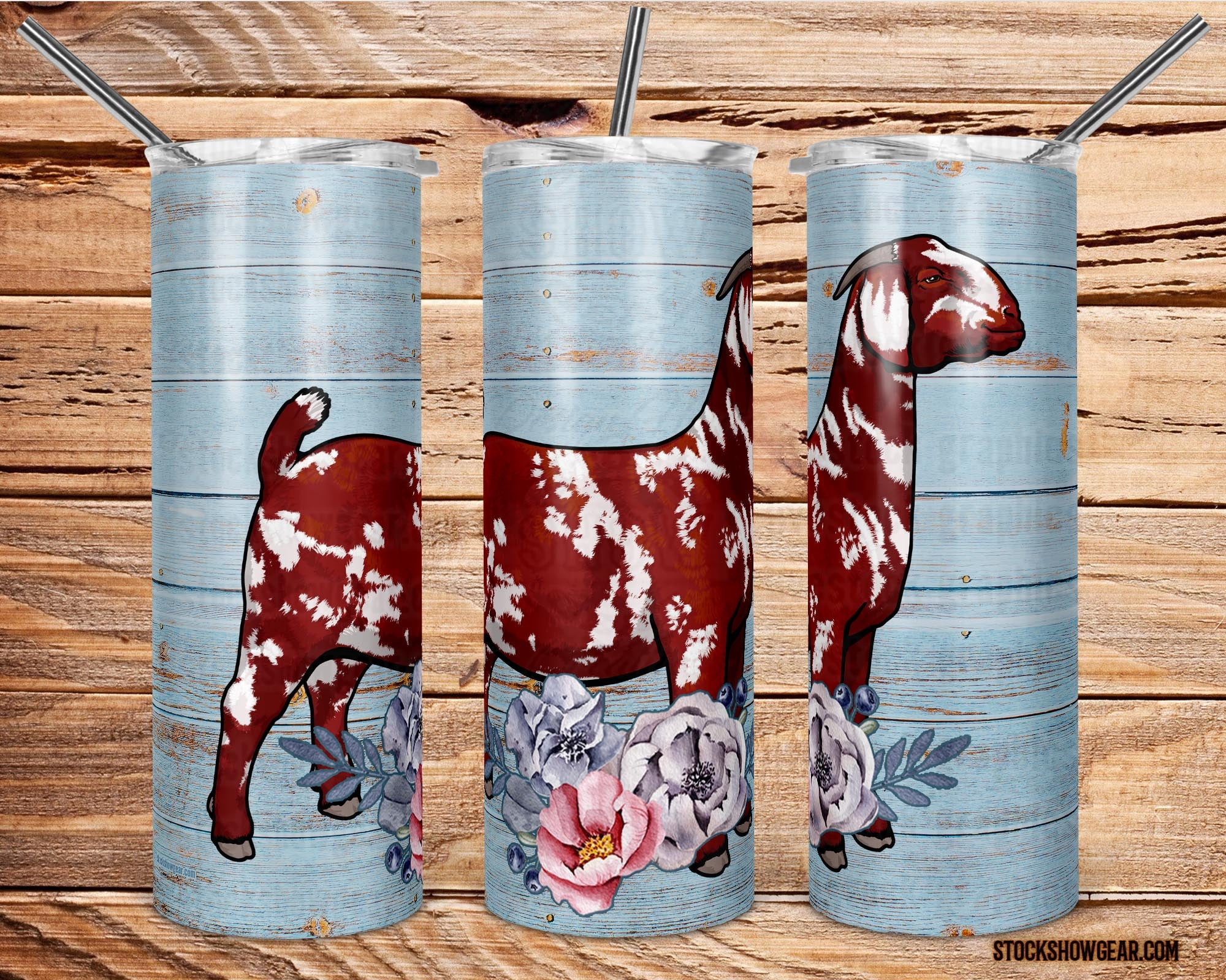 Red Dapple Boer Doe with Flowers Skinny Tumbler with Straw