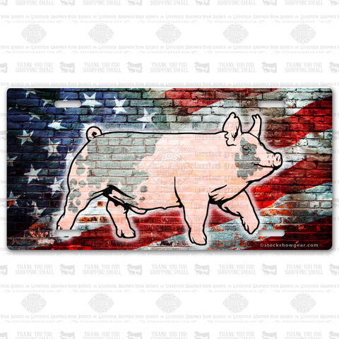 Blue Butt Pig USA Themed License Plates
