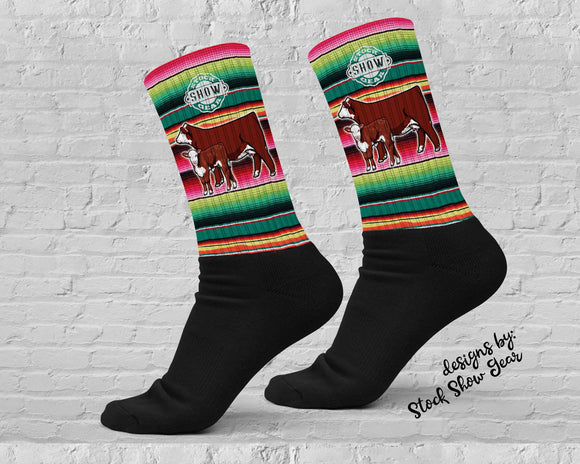 Hereford Cow Calf Pair Serape Socks