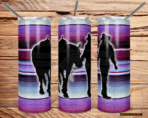 Girl Walking Horse Purple Serape Skinny Tumbler