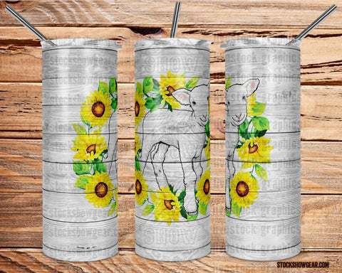Sunflower Lamb Tumbler with Sealing Lid and Metal Straw