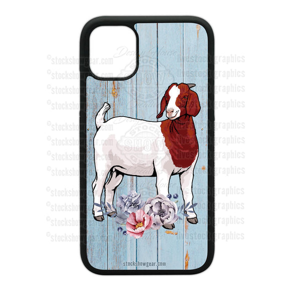 Boer Goat Design Phone Cases-Floral-Soft Blue Wood