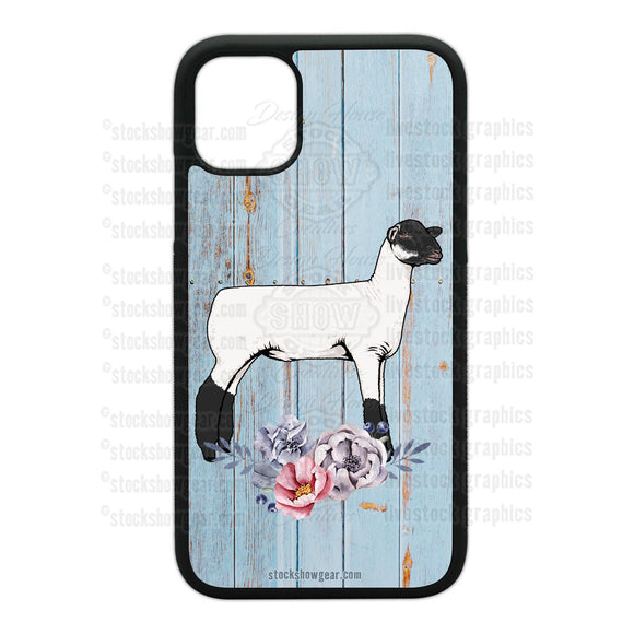 Sheep Design Phone Cases-Floral-Soft Blue Wood