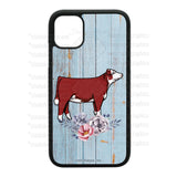 Cattle Design Phone Cases-Floral-Soft Blue Wood