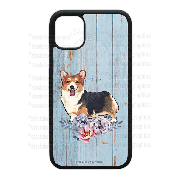 Corgi Design Phone Cases-Floral-Soft Blue Wood