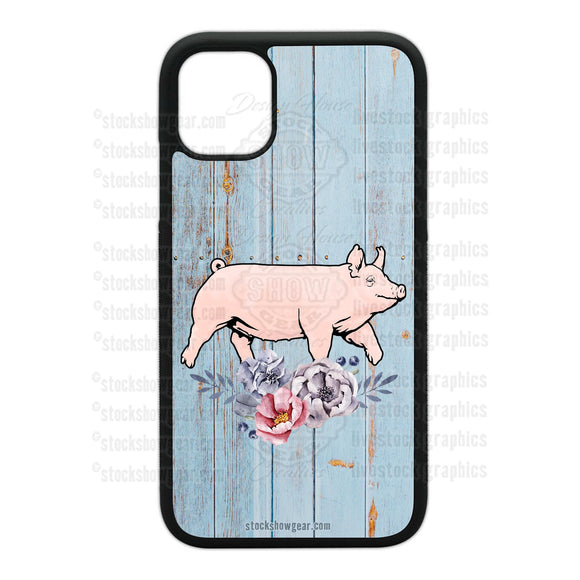 Yorkshire Pig Designs Phone Cases-Floral-Soft Blue Wood