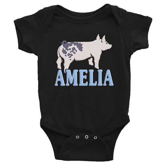 Blue Butt Pig Infant Bodysuit